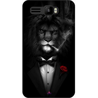 Snooky Printed 1030,liON BLACKSUIT Mobile Back Cover of Intex Aqua R3 - Multi