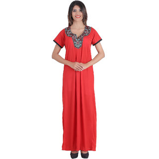 Buy Glossia Red Cotton Nighty   Night Gowns Online - Get 69% Off 430e2eb00d0c