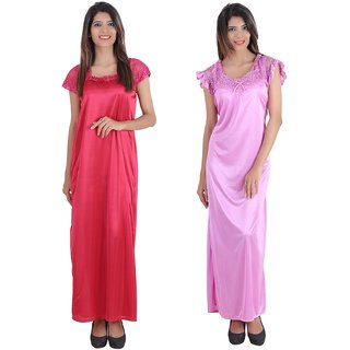 3a03fc62f8 Buy Glossia Beautiful Two Satin Nighty Gown Combo(Pack of 2) for Women Girls (Free Size Nighty) Online - Get 78% Off