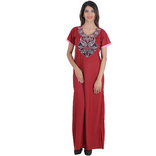 Buy Glossia Pink Cotton Nighty   Night Gowns Online - Get 69% Off 9e26aeebced1
