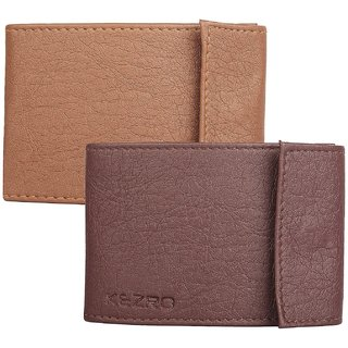 KEZRO Pocket Sized Stitched Case Card Holder - Combo BrownTan (Synthetic leather/Rexine)