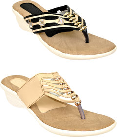 Altek Golden And Black Colored Resin Wedges For Women (