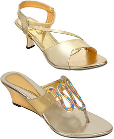 Altek Golden Colored Resin Cone,Wedges For Women (Pack