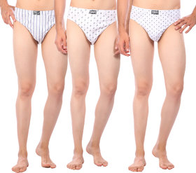 Combo of 3 Men's Regular Rise Elastic Waistband White Color Cotton Printed Brief for Men - Set of 3 Underwear Available In Many Designs by Semantic