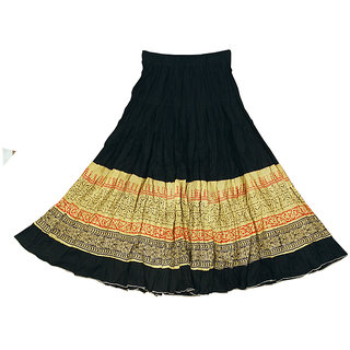 Adiboo Long Skirt cotton made Black colored printed for girls 6-11 years.