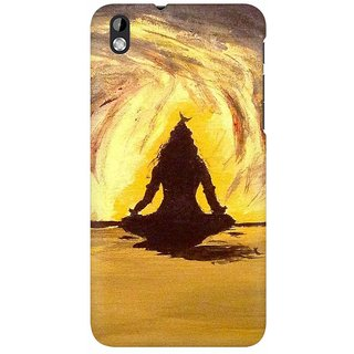Mobicture Lord Shiva Silhoutte In Orange Premium Printed High Quality Polycarbonate Hard Back Case Cover For HTC Desire 816 With Edge To Edge Printing