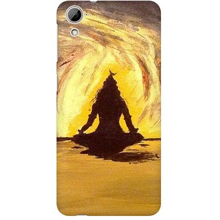 Mobicture Lord Shiva Silhoutte In Orange Premium Printed High Quality Polycarbonate Hard Back Case Cover For HTC Desire 820 With Edge To Edge Printing
