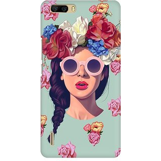 Mobicture Floral Girl Premium Printed High Quality Polycarbonate Hard Back Case Cover For Huawei Honor 6 Plus With Edge To Edge Printing
