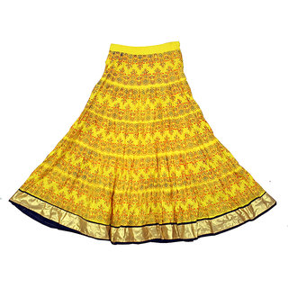 7d652a6c949 Buy Adiboo Long Skirt cotton made Yellow colored printed for girls 6-11  years. Online - Get 58% Off