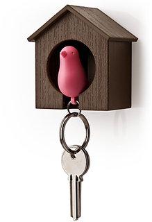 Daffodils Bird Nest Bird Keyring Brown Pink Key Chain (Brown, Pink) TH009