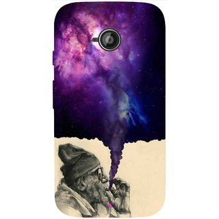 Snooky Printed 1067,old man smoking weed Mobile Back Cover of Motorola Moto E2 - Multi