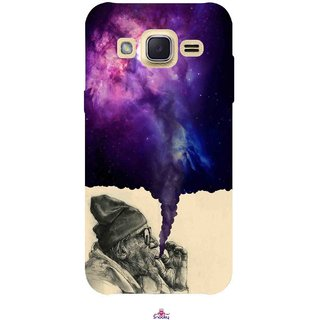 Snooky Printed 1067,old man smoking weed Mobile Back Cover of Samsung Galaxy j2 - Multi