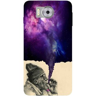 Snooky Printed 1067,old man smoking weed Mobile Back Cover of Panasonic Eluga Note - Multi