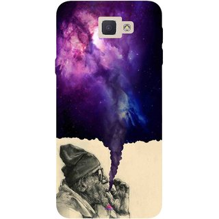 Snooky Printed 1067,old man smoking weed Mobile Back Cover of Samsung Galaxy J5 Prime - Multi