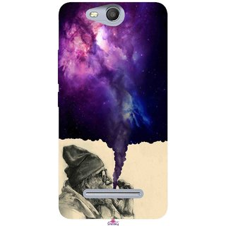 Snooky Printed 1067,old man smoking weed Mobile Back Cover of Micromax Bolt Q392 - Multi