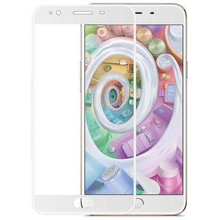 OPPO F1s FULL GLUE (GUM) Coloured Tempered Glass (ORIGINAL 5D CURVED 9H GLASS) Full Screen Protection (WHITE)