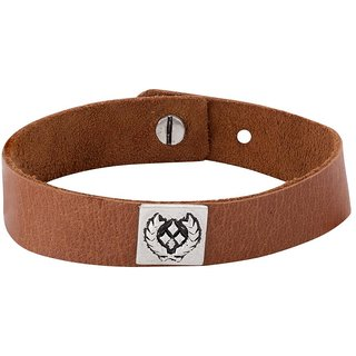 Dare by Voylla Stylish Leather Look Oxidized Silver Top Bracelet From Squad Collection
