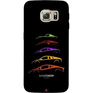 Snooky Printed 1087,silhouette history car Mobile Back Cover of Samsung Galaxy S6 Edge - Multi