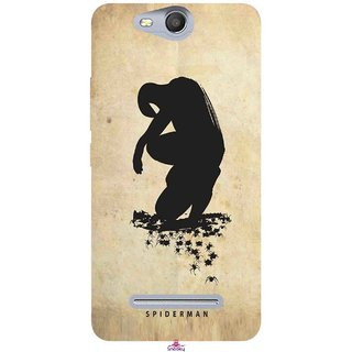 Snooky Printed 1090,Spiderman superhero silhouette posters Mobile Back Cover of Micromax Bolt Q392 - Multi