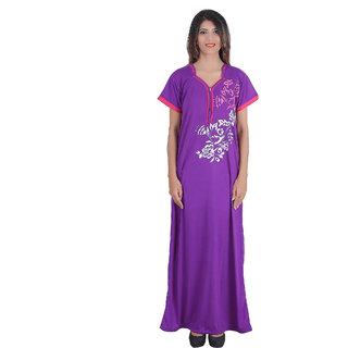 Glossia Purple  Cotton Nighty & Night Gowns