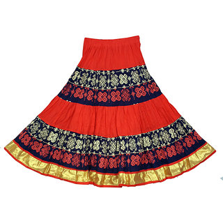 Adiboo Long Skirt cotton made multi colored printed for girls 6-11 years.