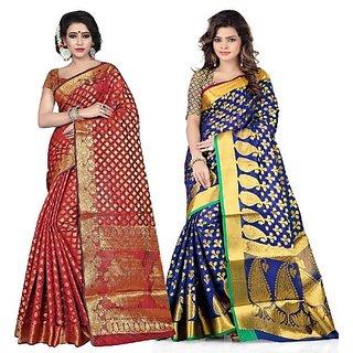 Jayant Creation Multicolor Banarasi Silk Embellished Saree With Blouse