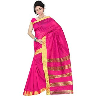Jayant Creation Multicolor Cotton Striped Saree With Blouse