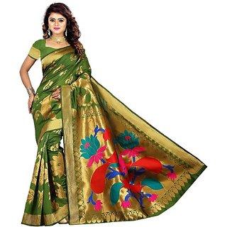 Jayant Creation Multicolor Art Silk Woven Design Saree With Blouse