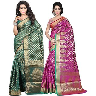 Jayant Creation Multicolor Banarasi Silk Self Design Saree With Blouse