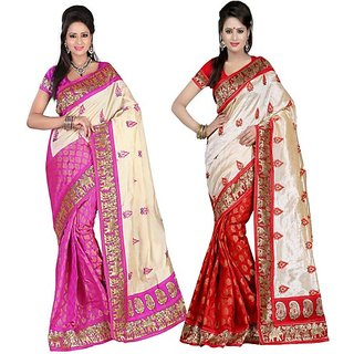 Jayant Creation Multicolor Art Silk Printed Saree With Blouse