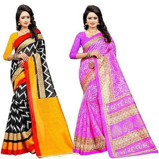Jayant Creation Multicolor Cotton Self Design Saree With Blouse