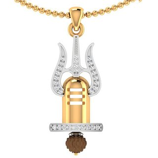 Dare by Voylla Men's Trishul With Shivling Pendant With Chain Graced With Rudraksha