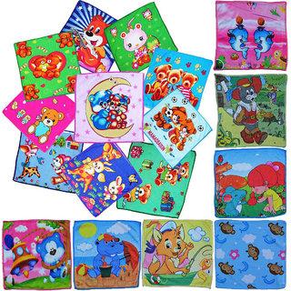 Rite Clique Cotton Face Towel Set of 12 Printed, Cartoon Prints