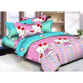 Buy Reet Textile Cartoon Design Double Bed Sheet With 2 Pillow
