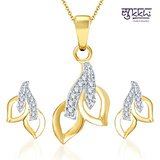 Sukkhi Glimmery Gold And Rhodium Plated CZ Pendant Set (113PS500)