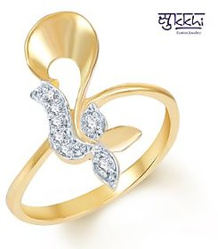 Sukkhi Rhodium Plated Beguilling Classy Gold and Rhodium Plated CZ Ring (212R220) for Women