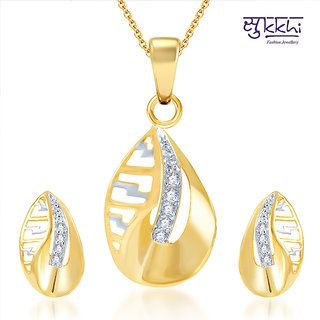 Sukkhi Youthful Gold and Rhodium Plated CZ Pendant Set (107PS410)
