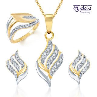 Sukkhi Fabulous Gold and Rhodium Plated CZ Pendant Set and Ring Combo
