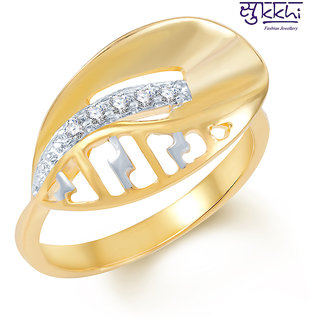 Sukkhi Gold American Diamond Party Alloy Gold Plated Bridal/Wedding Ring
