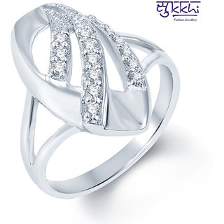 Sukkhi Ritzzy Rodium plated CZ Studded Ring (237R440)