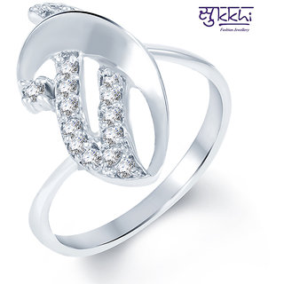 Sukkhi Enchanting Rodium plated CZ Studded Ring (242R360)