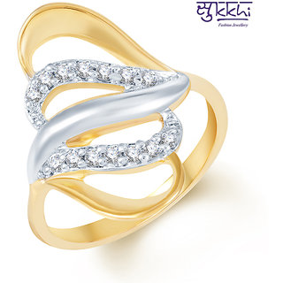 Sukkhi Beguilling Classy Gold and Rhodium Plated CZ Ring (244R380)