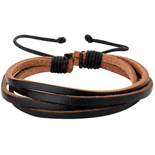 Dare by Voylla Cool Stacked Classic Leather Bracelet