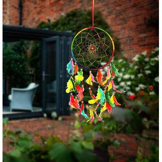 ILU Dreamcatcher Wall Hanging Handmade Beaded Circular Net Decoration Ornament Size 16 CM Diameter Multicolor