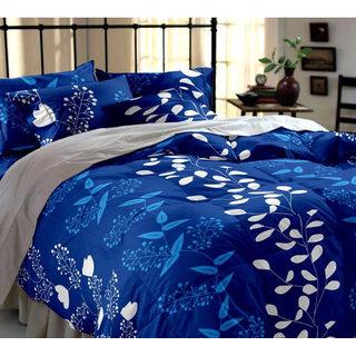 Polycotton 3D Blue Floral Print Double Bedsheet with 2 Pillow Covers ( PL-23)
