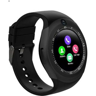 IBS Y1S Bluetooth Smart Watch Support Sim Card And SD Card With Camera Suitable For all Smart Phones(Black)