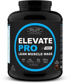 Sinew Nutrition Elevate PRO Lean Muscle Mass Gainer Protein Powder with Digestive Enzymes, Rich Chocolate, 2Kg