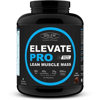 Sinew Nutrition Elevate PRO Lean Muscle Mass Gainer Protein Powder with Digestive Enzymes, Rich Chocolate, 3Kg