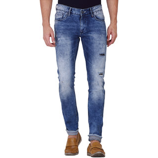 Kozzak Men's Casual Skinny Fit Stretchable Blue Jeans