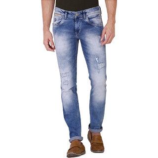 Kozzak Men's Casual Skinny Fit Stretchable Blue Jeans